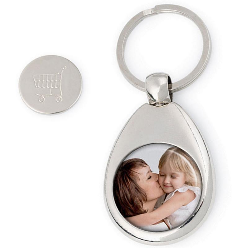 Porte clés personnalisé jeton de caddie avec photo